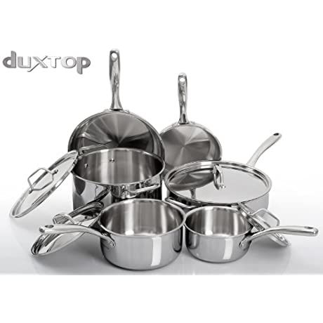 Duxtop Whole Clad Tri Ply Stainless Steel Induction Ready Premium Cookware 10 Pc Set