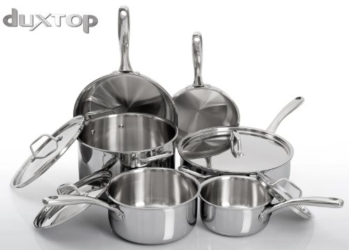 Duxtop Whole-Clad Tri-Ply Stainless Steel Induction Ready Premium Cookware 10-Pc Set by Secura