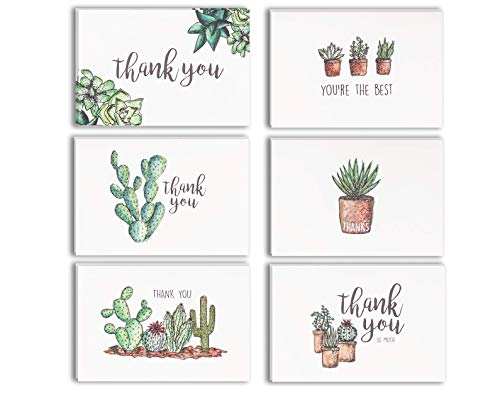 Blank Watercolor Thank You Cards: 36 Assorted Boxed Pack - Succulent Floral Green & Black & White Card Designs: Bulk Note Box for Graduation, Wedding, Bridal Party, Baby Shower, Men & Women Sympathy -