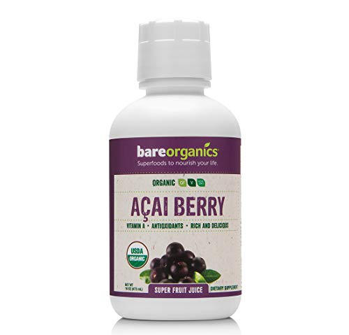 BareOrganics Acai Berry Juice | Raw & Natural Superfruit Juice - Organic, Vegan, Gluten-Free & Non-GMO, 16 oz