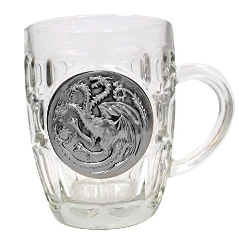 Game of Thrones House Targaryen Crystal Stein | Collectible Authentic Drinking Glass | 16 Ounces