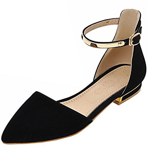 Azbro Mujer Zapatos de Tacón Mini Planos Correas Tobillo con Puntera Punta Negro
