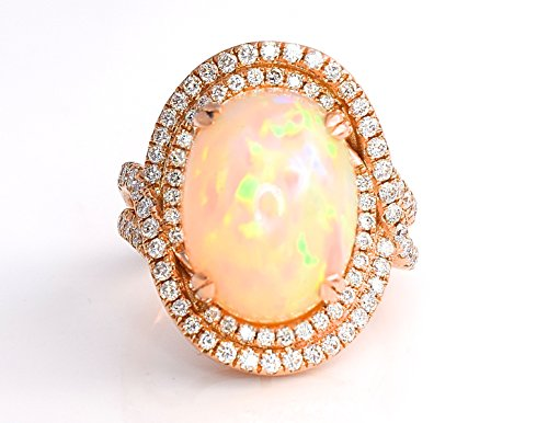 LeVian Couture Neopolitan Opal Ring with Chocolate Diamonds and Vanilla Diamonds Red Carpet Collection 18K Rose/Strawberry Gold New Size 7