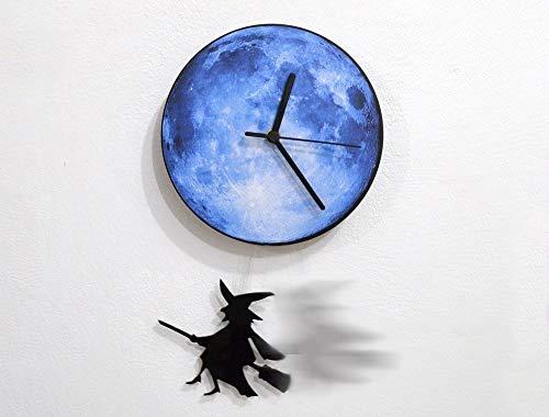 Halloween Witch Swinging on the Moon - Pendulum Wall Clock ()