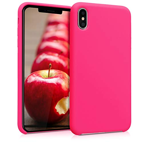 kwmobile TPU Silicone Case for Apple iPhone Xs Max - Soft Flexible Rubber Protective Cover - Neon Pink