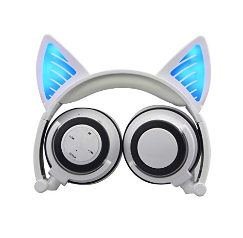 Cat Ear Headphones,Wireless Bluetooth Headset Flashing Glowing Cosplay Fancy LED Light USB Charger Earphone for Girls Children,Compatible for iPhone and Other Android Phones (White)
