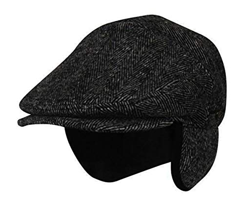 Folie Co. XLarge 100% Wool Dark Grey Herringbone Winter Ivy Cabbie Hat w/Earflaps - Driving Hat