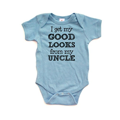 Apericots I Get My Good Looks From My Uncle Short Sleeve Baby Bodysuit