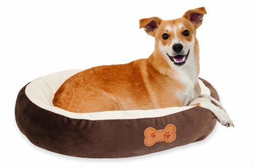 Aspen-Pet-Oval-Cuddler-Pet-Bed-20-Inch-by-16-Inch-Chocolate-Brown