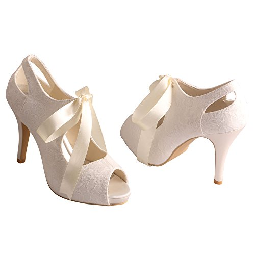 Wedopus MW860 Women's Open Toe Ribbons Strap High Heel Lace Wedding Bridal Shoes Size 7 Ivory