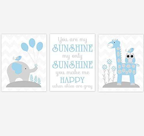 Amazon.com: Baby Boy Nursery Wall Art Blue Elephant ...