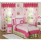 Sweet Jojo Designs 4-Piece Pink and Green Flower Collection Children's Bedding Girls Twin Set