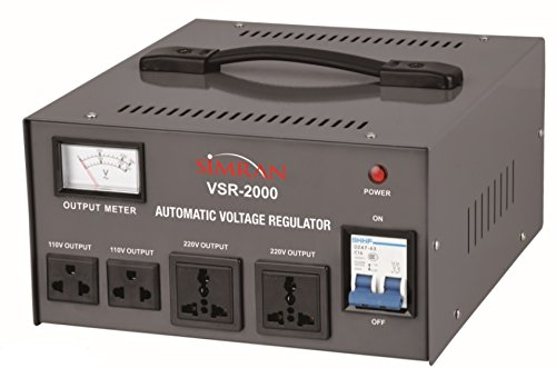 Simran 2000 Watt Step Up/Down Voltage Transformer Converter Box with Built-in Voltage Regulator for 110V-240V, Circuit Breaker Protection, VSR-2000 ()