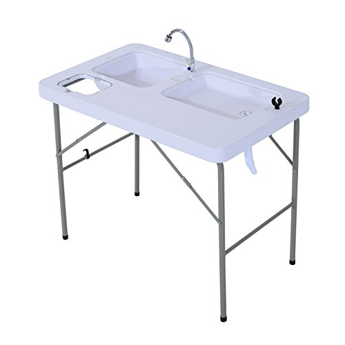 Tidyard Folding Portable Camping Table with Sink Faucet Fish Fillet Hunting Cutting Table Steel Frame Outdoor Gardening BBQ Camping Picnic Table White 39.8 x 26.0 x 31.9 Inches (L x W x H)