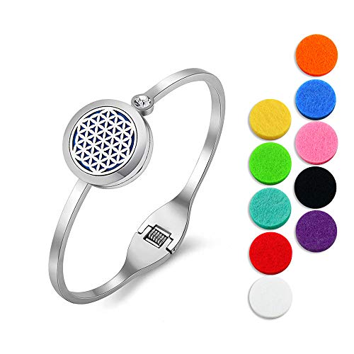 Lademayh Flower of Life Essential Oil Diffuser Bracelet Aromatherapy Diffuser Locket Jewelry for Women, 20mm Stainless Steel Diffuser Cuff Bangle with 12 Felt Pads