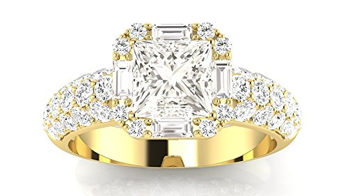 1.4 Carat t.w. 14K Yellow Gold Princess Designer Popular Halo Style Baguette and Pave Set Round Diamond Engagement Ring J/VS2 Clarity Center Stones.