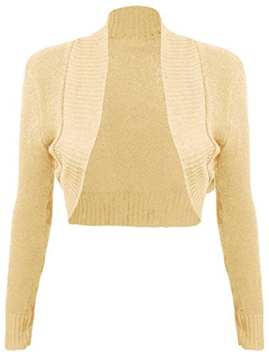 Thever Women Ladies Long Sleeve Knitted Shrug Cardigan Bolero Crop Top One Sz 6-12 (One SZ 6-12, Peach)