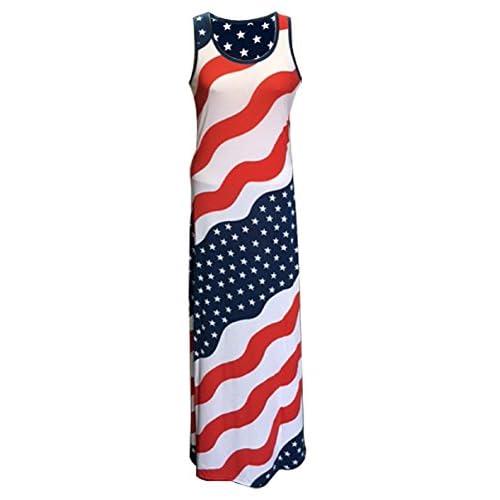 c206738731a Women s Patriotic USA American Flag Long Maxi Dress 70%OFF ...
