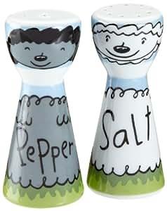 Salt and Pepper Shaker Set, Mr Salt n Mrs Pepper, Sheep, Porcelain Shakers in Cute Gift Box