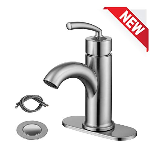 RKF Single Handle Bathroom Sink Faucet One Hole Deck Mount Lavatory Faucet with pop-up drain with overflow and CUPC water supply hoses,Brushed Nickel. BF003SP-BN