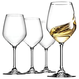 Bormioli Rocco 14.75 oz White Wine Glasses (Set Of 4): Crystal Clear Star Glass, Laser Cut Rim For Wine Tasting, Elegant…