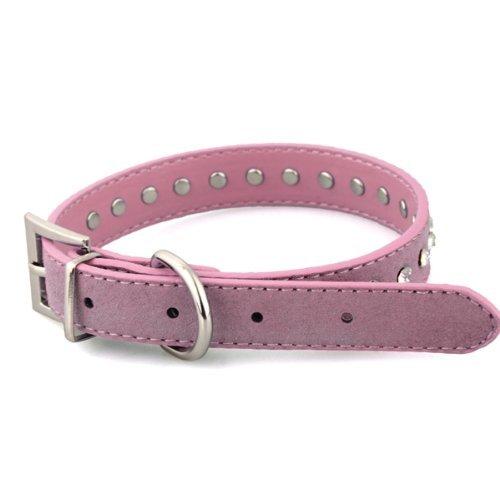 SODIAL (R) Collar ajustable para perro de mascota gato de cuero Rosa M 43cm