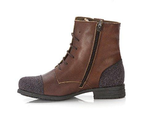 Nobrand Looloo Damen Schnürr Stiefel Boots rostbraun mit Wollfutter