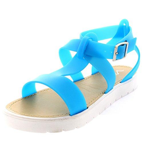 Viva Damen T-Riemen Profilierte Sohle Offene Weiß Flatform Gelee Sandalen Blau