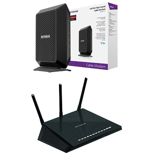 NETGEAR CM700 32x8 DOCSIS 3.0 Cable Modem Bundle with NETGEAR Nighthawk R6700-100NAS AC1750 Smart Dual Band Wi-Fi...