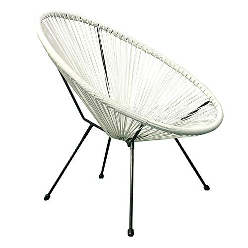Indoor Outdoor Acapulco Woven Lounge Chair, All-Weather Patio Pear Shaped Weave Chair White, 2pc