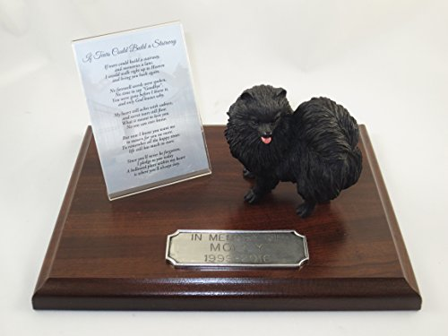Conversation Concepts Beautiful Walnut Finished Personalized Memorial Plaque with Black Pomeranian Figurine