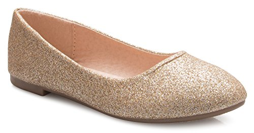 OLIVIA K Girls Classic Ballet Flat Shoes - Adorable Round Toe- Easy On Off and (Adorable Flat)