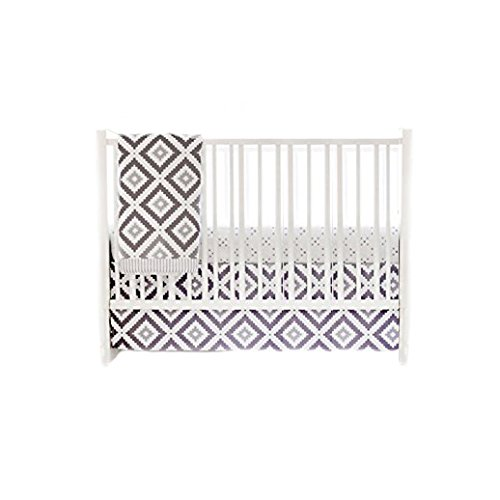 My Baby Sam Imagine 3 Piece Crib Bedding Set, Gray, White Inc. CRIB3180