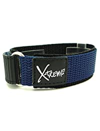New X-Treme 20mm Tough Secure Hook & Loop Nylon Watch Band Strap Gents Men's with Ring End - Dark Blue