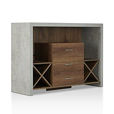 Don't Wait Buy This Modern Style Sideboard in Distressed Walnut Made of MDF & Paticleboard With 3 Storage Drawers & Dual X-shaped Wine Racks & 3 Open Shelves and Stone-like Finished Exterior Frame - A perfect blend of form and function, this server will soon be an irreplaceable part of your dining ensemble. A contemporary design, this piece looks like it mixes materials with a stone-like distressed gray frame and a black wood center. This server is crafted from MDF wood and particle board, making it budget-friendly without sacrificing style. The two X-shaped racks can store up to eight bottles of wine, while the three shelves and three drawers provide ample storage space for the rest of your hosting essentials. Contemporary style. Materials: MDF, particle board. Three centered storage drawers. Dual X-shaped wine racks. Three open shelf spaces. Stone-like finished exterior frame. - sideboards-buffets, kitchen-dining-room-furniture, kitchen-dining-room - 41fiSXwuELL. SS400  -