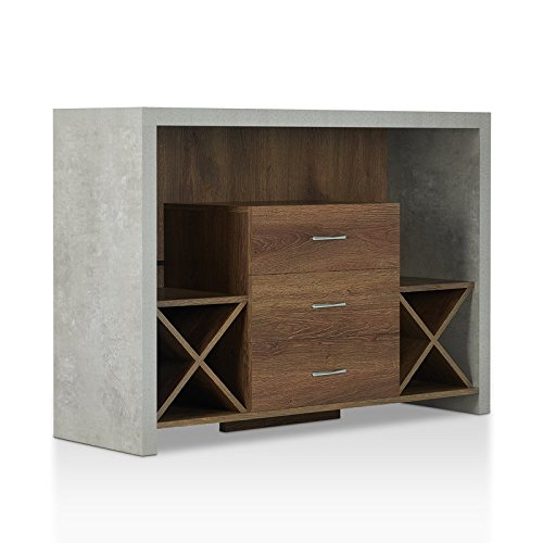 Don't Wait Buy This Modern Style Sideboard in Distressed Walnut Made of MDF & Paticleboard With 3 Storage Drawers & Dual X-shaped Wine Racks & 3 Open Shelves and Stone-like (3 Drawer Sideboard Server)