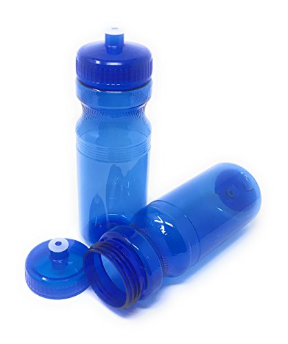 CSBD Blank 24 oz Sports and Fitness Water Bottles, BPA Free, PET Plastic, Made in USA, Bulk, 4 Pack (Blue, 24 Ounces) - Sport Bottle Ounce 24