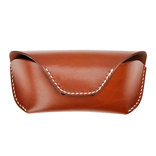 Unisex Semi Hard Genuine Leather Eyeglass Case With Belt Loop for Prescription Eyeglasses & Standard Sized Sunglasses, Brown by ZLYC