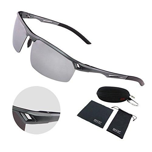 Duco Men's Sports Style Polarized Sunglasses Driver Glasses Metal Frame 8550 (Gunmetal Frame Mirror - Clip Rimless For Sunglasses On Best Glasses