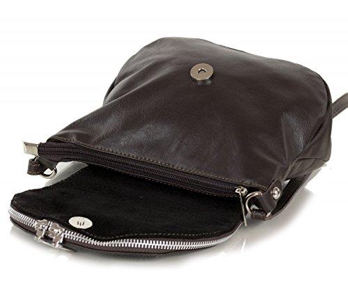 Bolso bandolera cuero napa pequeño - bolso de noche blando (20 x 17 x 7 cm) marrón oscuro