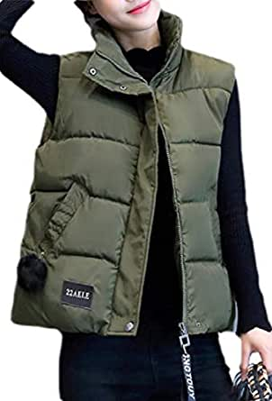 Macondoo Women's Stand Collar Quilted Outdoor Winter Puffer Vest Down Vest Coat Army Green XS