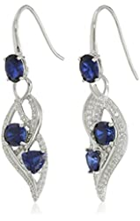 Sterling Silver, Created Gemstone, and Created White Sapphire Wave Dangle Earrings
