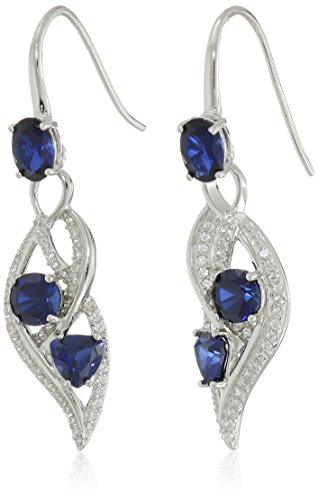 Sterling Silver Blue and Created White Sapphire Wave Dangle Earrings