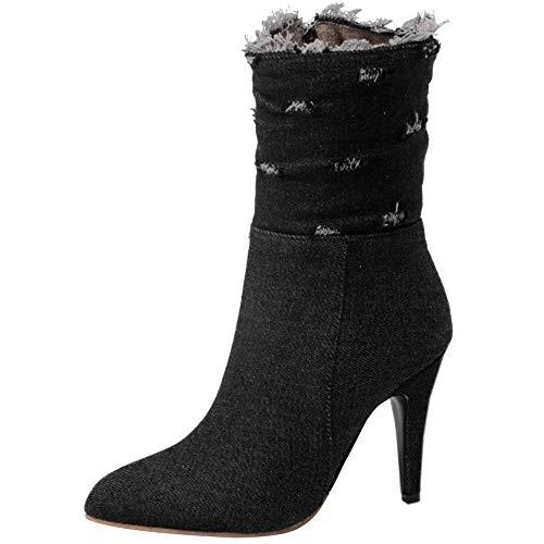 Heel Coolcept Boots Zip Black Ankle Stylish High Women wwUqxgA
