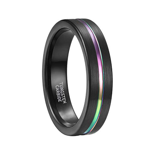 5mm Rainbow Tungsten Rings for Men Women Black Plated Matte Finish Comfort Fit Size 4.5