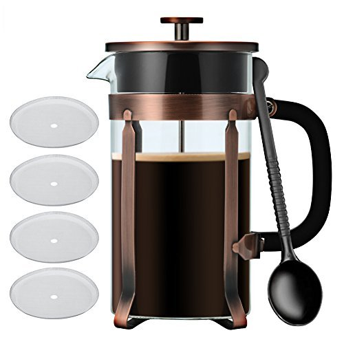 French Press Coffee/Tea Maker, IdealHouse 34oz(8 Cup) 304 Stainless Steel, Heat-Resistant Borosilicate Glass French Press Pot Cafetiere Coffee Cup Tea Filter
