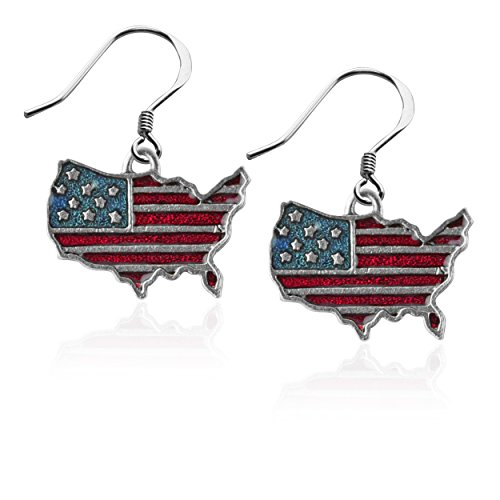Whimsical Gifts Patriotic July 4th Charm Earrings (Stars and Stripes Flag, Silver) ()