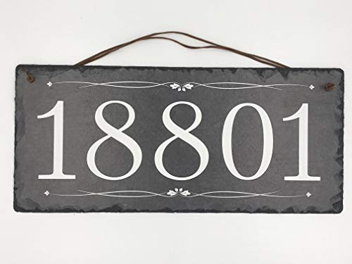 "Beautifully Handcrafted and Customizable Slate Home Address Plaque (16""x10"" 12"