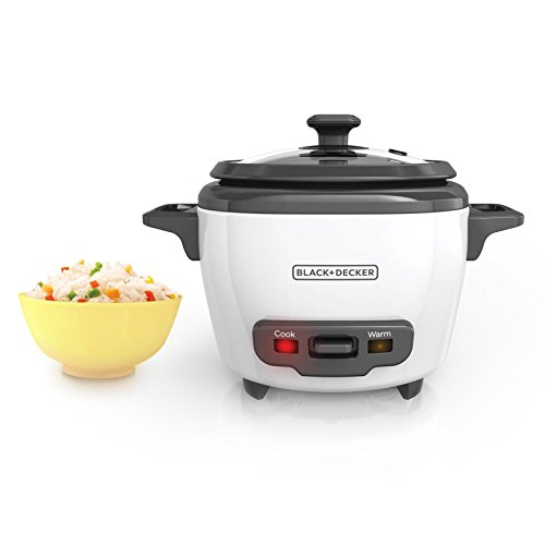 BLACK+DECKER RC503 Mini 3-Cup Cooked/1.5-Cup Uncooked Rice Cooker, White