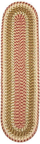 Earth Rugs 44-024 Olive-Burgundy-Gray Oval Table Runner